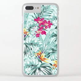 Bird of Paradise Greenery Aloha Hawaiian Prints Tropical Leaves Floral Pattern Clear iPhone Case