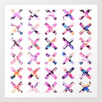 Elegant Vintage Chic Floral Bright Crosses Pattern Art Print