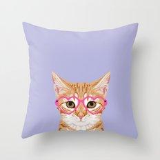 Mackenzie - Orange Tabby Cute Hipster Glasses Kitten Lavender Pastel Girly Retro Cat Art cell phone Throw Pillow
