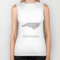 north carolina Biker Tanks featuring North Carolina map by David Zydd
