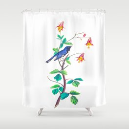 Blue Birds & Pastel Turquoise Leaves Shower Curtain