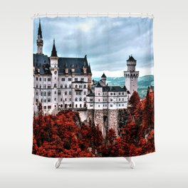 The Castle of Mad King Ludwig in the Autumn, Neuschwanstein Castle, Bavaria, Germany Shower Curtain