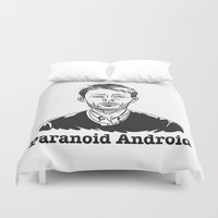 android Duvet Covers featuring Paranoid Android by skidsam