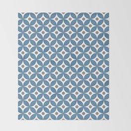 Grayish blue, gray and white elegant tile ornament pattern Throw Blanket