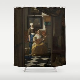 The love letter - Johannes Vermeer (1668-1670) Shower Curtain