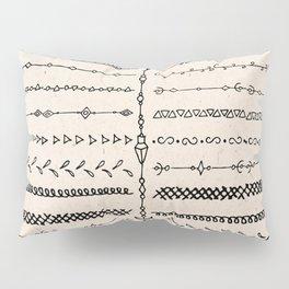 Vintage white modern black bohemian aztec pattern Pillow Sham