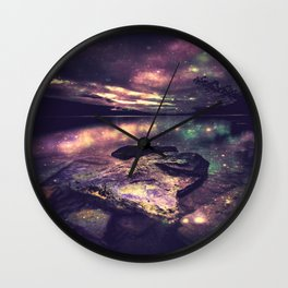 Magical Mountain Lake : Eggplant Teal Wall Clock