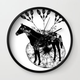Black and white horse and the flowers Wall Clock