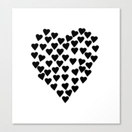 Hearts Heart Black and White Canvas Print