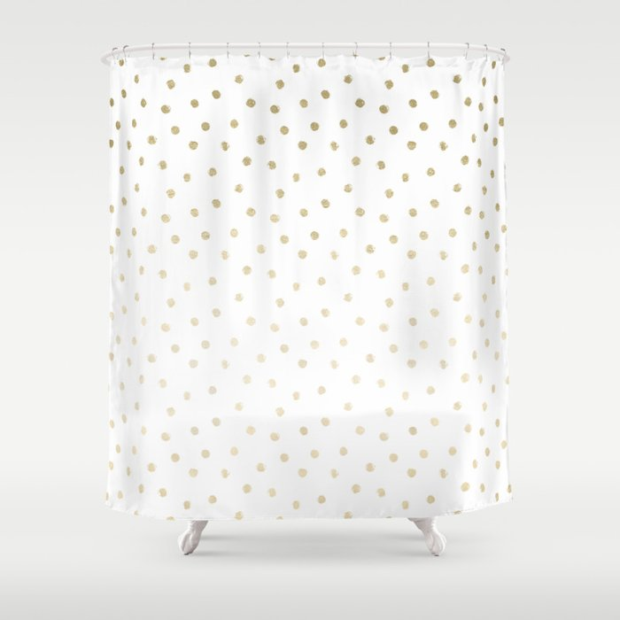 Delicate Gold Polka Dots Shower Curtain By Naturemagick
