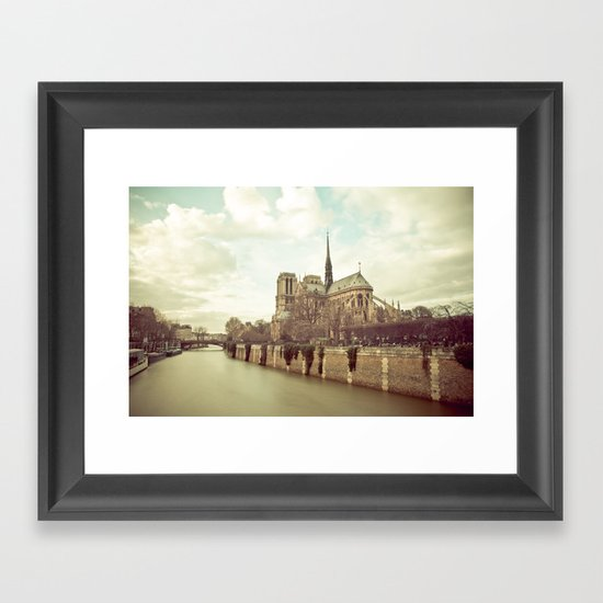 Notre Dame Cathedral on the Seine Framed Art Print