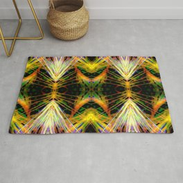 Yellow Bright Rays Fractal Art Rug
