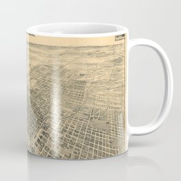 Vintage Bird's Eye Map Illustration - Stockton, California (1895) Coffee Mug