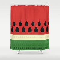 watermelon Shower Curtains featuring watermelon by ValoValo