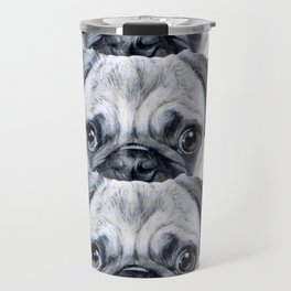 pug Dog illustration original painting print Travel Mug