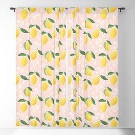 Lemons on pink Blackout Curtain