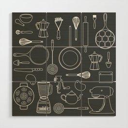 kitchen tools (white on black) Wood Wall Art