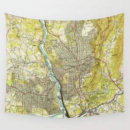 Vintage Map of Asheville North Carolina (1943) Wall Tapestry