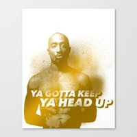 tupac Canvas Prints featuring Tupac Head Up by F. J. Lara
