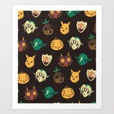 pattern of masks.  Art Print