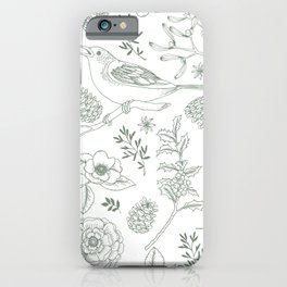 Birds and evergreen foliage pattern iPhone Case