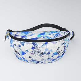 blue heart shape abstract with white abstract background Fanny Pack