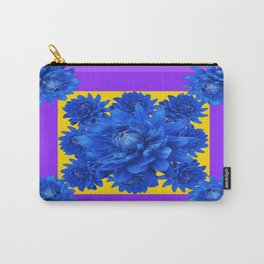Purple Shades Pattern  Blue Dahlias Abstract Art Carry-All Pouch