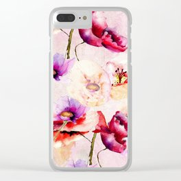 Colorful Watercolor Poppy Garden Clear iPhone Case