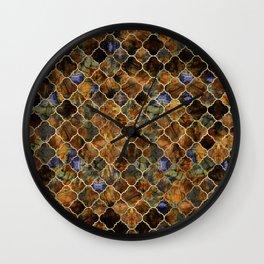 Quatrefoil Moroccan Pattern Brown Labradorite Wall Clock