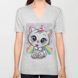 Cute Cartoon White Kitten Horn Unicorn Unisex V-Neck