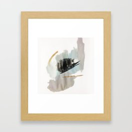 From a Distance - a minimal acrylic and ink abstract piece in blue, black, and tan Framed Art Print