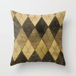 Wooden big diamond Throw Pillow