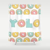 yolo Shower Curtains featuring Doughnut Yolo by MOJA