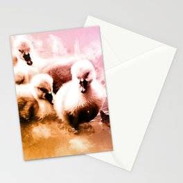 Cygnets Huddle Together Stationery Cards