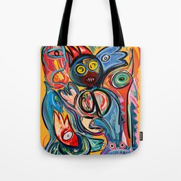 Yellow Life With Birds Street Art Tote Bag