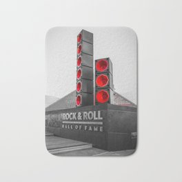 Cleveland Ohio Rock And Roll Hall Of Fame Black White Red Bath Mat