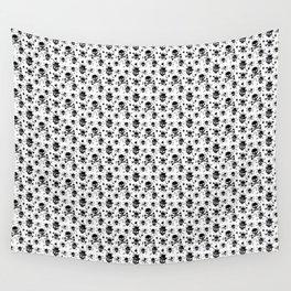 Black skull pattern on white - deluxe Wall Tapestry