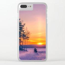 The snow mobile race toward the Sun pillar Clear iPhone Case