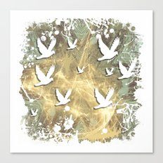 Birds on beige messy kaleidoscope Canvas Print