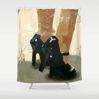 heels Shower Curtains featuring Heels by Tom Britton