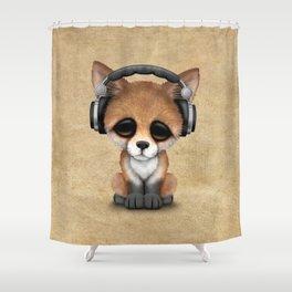 Cute Red Fox Cub Dj Wearing Headphones Shower Curtain
