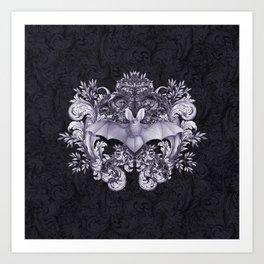 Bat and Swirls Art Print