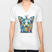 yorkie V-neck T-shirts featuring Colorful Yorkie Dog Art - Yorkshire Terrier - By Sharon Cummings by Sharon Cummings