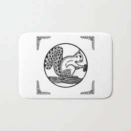 Squirrel Boho style Black and White Bath Mat