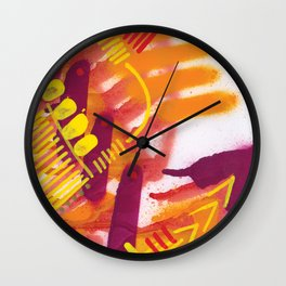 Yellow on Orange Wall Clock