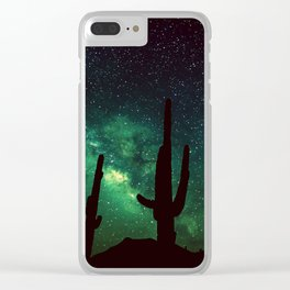 milky way cacti teal green Clear iPhone Case