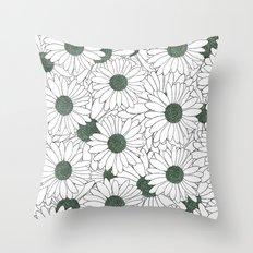 Daisy Mint Throw Pillow