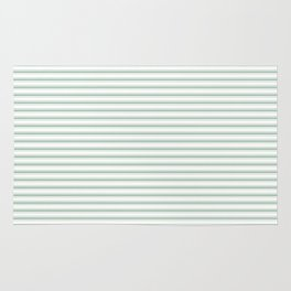 Mattress Ticking Narrow Striped Pattern in Moss Green and White Rug
