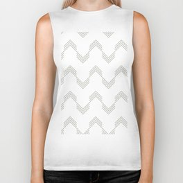 Simply Deconstructed Chevron Retro Gray on White Biker Tank