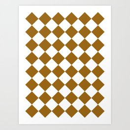 Large Diamonds - White and Golden Brown Art Print